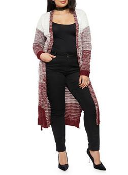 Plus Size Marled Long Cardigan - BURGUNDY - 3920038347231