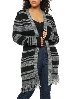 Plus Size Striped Open Front Cardigan with Frayed Bottom - 3920038347233