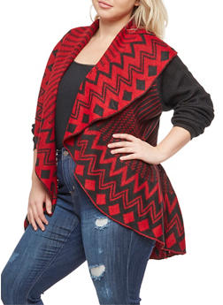 Plus Size Printed Shawl Collar Cardigan - 3920038347261