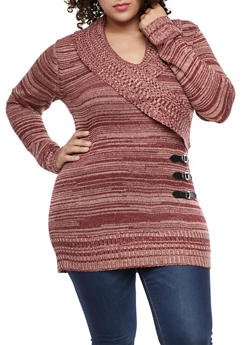 Plus Size Faux Wrap Shawl Collar Sweater - 3920038347304