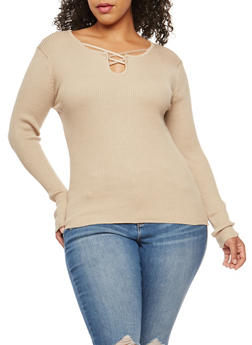 Plus Size Ribbed Knit Criss Cross Neck Top - 3920038347431