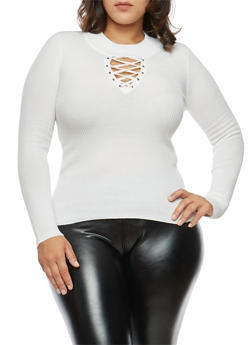 Plus Size Grommet Lace Up Sweater - IVORY - 3920051061001