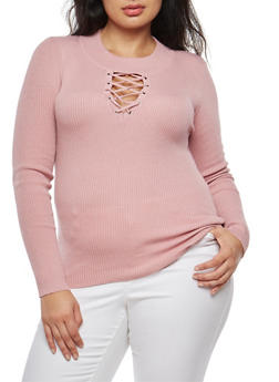 Plus Size Grommet Lace Up Sweater - 3920051061001
