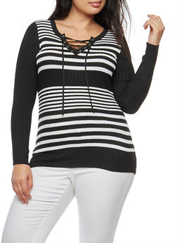 Plus Size Striped Rib Knit Lace Up Sweater - 3920051061002