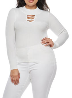 Plus Size Lace Up Sweater - 3920051061010