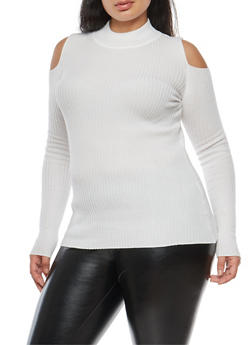Plus Size Cold Shoulder Sweater - IVORY - 3920051061077