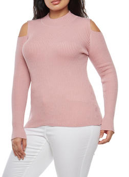 Plus Size Cold Shoulder Sweater - 3920051061077