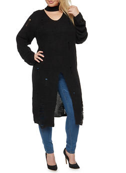 Plus Size Tunic Sweater with Split Front - 3920062707055