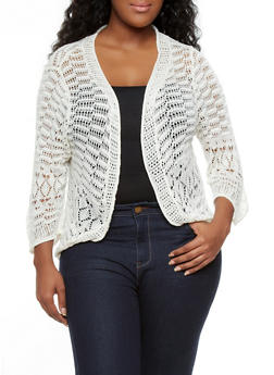 Plus Size Open Knit Crochet Cardigan with Open Front,IVORY,medium