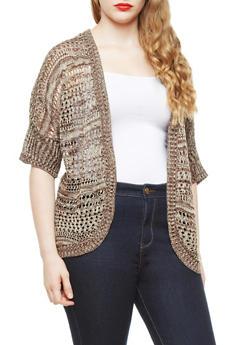 Plus Size Open-Knit 3/4 Sleeve Dolman Cardigan,BROWN COMBO,medium