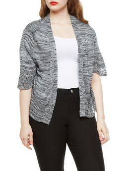 Plus Size Open Front Marled Knit Cardigan with Open Knit Trim,BLACK,medium