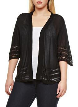 Plus Size Short Sleeve Cardigan with Contrast Open Knit Trim,BLACK,medium