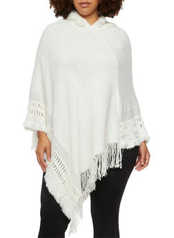 Plus Size Hooded Poncho with Fringe Hem - 3920071753146