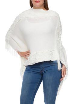 Plus Size Asymmetrical Poncho with Faux Fur Trim - 3920071753149