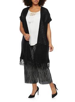 Plus Size Short Sleeve Fringe Trim Cardigan - 3920071753172