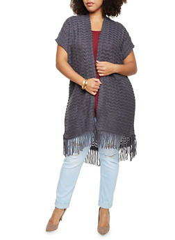 Plus Size Short Sleeve Cardigan with Fringe Trim - 3920071753172