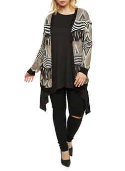 Plus Size Geometric Cardigan with Fringe Trim - 3920072893480