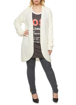 Plus Size Long Cardigan with Open Front - IVORY - 3920072893482