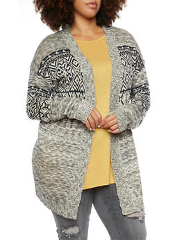 Plus Size Cardigan with Aztec Print - 3920072893485