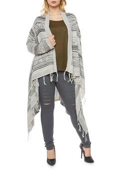 Plus Size Asymmetrical  Striped Knit Cardigan - 3920072893493