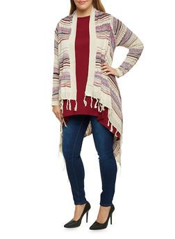 Plus Size Asymmetrical Cardigan in Striped Knit - 3920072893493