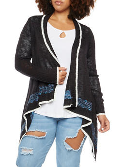 Plus Size Asymmetrical Cardigan in Patterned Knit - 3920072893497