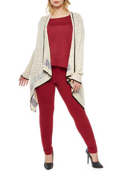 Plus Size Patterned Knit Asymmetrical Cardigan - 3920072893497
