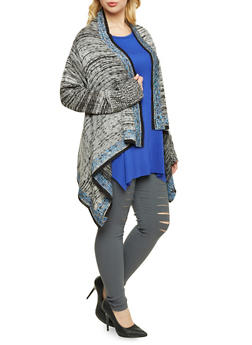 Plus Size Asymmetrical Cardigan with Open Front - 3920072893501