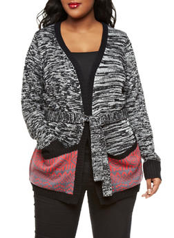 Plus Size Belted Marled Sweater Cardigan with Tribal Knit Pockets,BLACK,medium