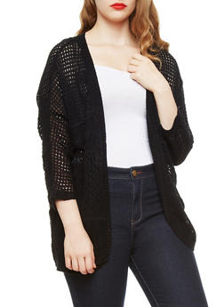 Plus Size Open Knit Sweater Cardigan with Three Quarter Dolman Sleeves,BLACK,medium