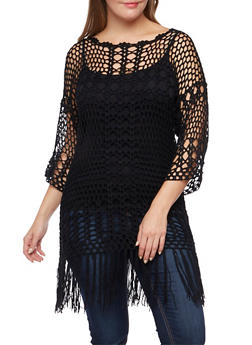 Plus Size Crochet Sweater with Fringe - 3920073358767