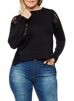 Plus Size Distressed High Low Sweater - 3920074050737