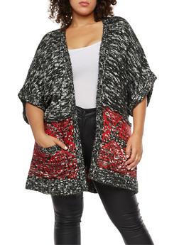 Plus Size Marled Heavy Knit Cardigan - 3920074050823