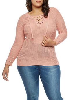 Plus Size Lace Up Sweater - 3920074050881