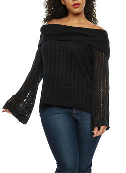 Plus Size High Low Off the Shoulder Sweater - 3920074050888