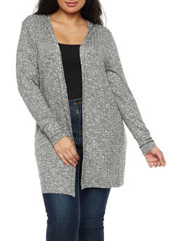 Plus Size Soft Knit Hooded Cardigan - 3920074050915