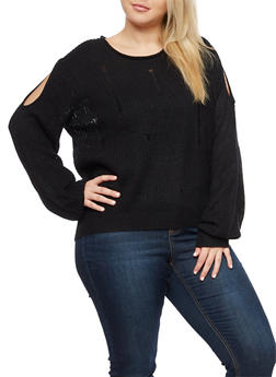 Plus Size Distressed Cold Shoulder Sweater - 3920074051783