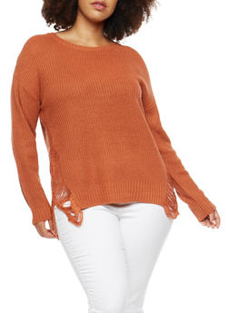 Plus Size Sweater with Distressed Side - 3920074058702