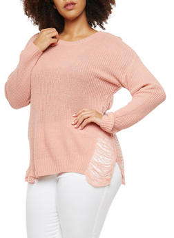 Plus Size Sweater with Distressed Side - BLUSH - 3920074058702