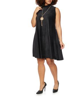 Plus Size Velvet Corduroy Swing Dress - 3924020621156