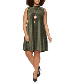 Plus Size Velvet Corduroy Swing Dress - 3924020621156