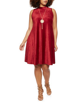 Plus Size Corduroy Swing Dress with Necklace - 3924020621156