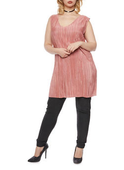 Plus Size Sleeveless Pleated Tunic Top - 3924020626522