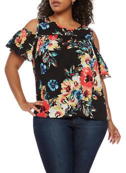 Plus Size Floral Cold Shoulder Top - 3924054263497