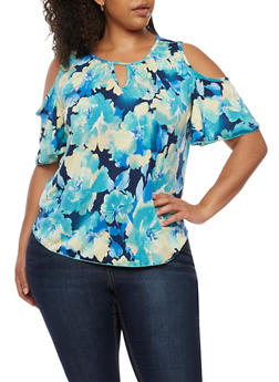 Plus Size Floral Cold Shoulder Top - 3924054263497
