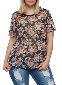 Plus Size Floral Mesh T Shirt - 3924061350396