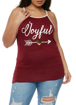 Plus Size Joyful Graphic Tank Top - 3924061353011