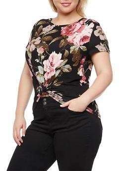 Plus Size Floral Knot Front Top - 3924061355353