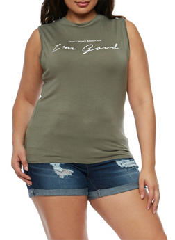 Plus Size Sleeveless I'm Good Graphic Top - OLIVE - 3924061358558