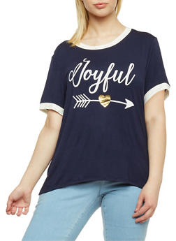 Plus Size Joyful Graphic Ringer T Shirt - 3924061359481